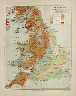 1897 Antique geological map of ENGLAND and WALES. Great Britain. United Kingdom.