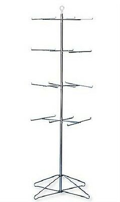 """Wire Spinner Rack 4 Tier 24 Peg Rotating Chrome Floor Stand Capacity 50 lb 63 ½"""""""