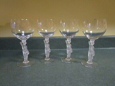 Mid Century, 4 French Crystal Bacchus Nude Male Frosted Stem Wine Glasses