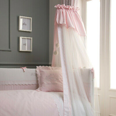 Funnababy Nursery Baby Princess Pink & White Cot Drape Mosquito Net with Rod