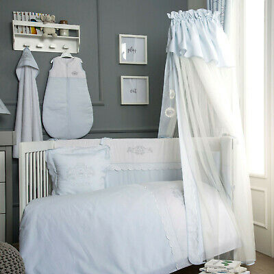Funnababy Nursery Baby Prince Blue & White Cot Hanging Drape Mosquito Net & Rod