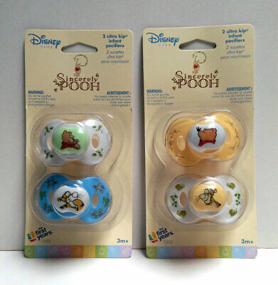 4 Sincerely Disney WINNIE THE POOH Infant Baby Pacifiers 3+ Mo Yellow Blue White