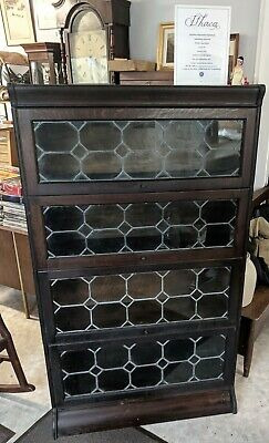 Hale System 4 Shelf BARRISTER BOOKCASE Camden Cabinet Co  Leaded Glass Stacking