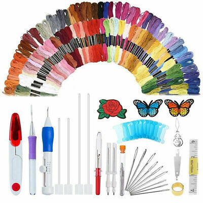 DIY Embroidery Pen Knitting Sewing Tool Kit Punch Needle Set + 100 Threads Sets