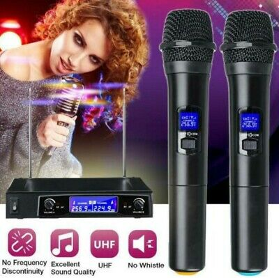 US 2 Channel UHF Wireless Dual Microphone Cordless Handheld Mic System Household