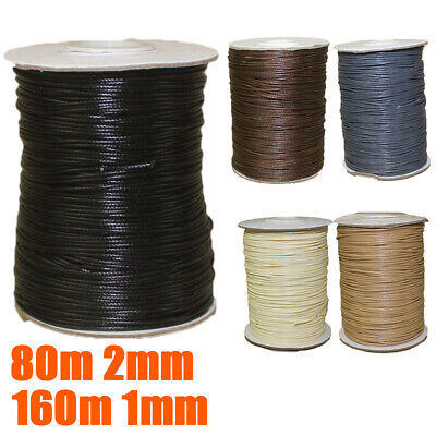 1mm/2mm Cotton Waxed Cord Beading DIY Jewelry Necklace Making Thread String