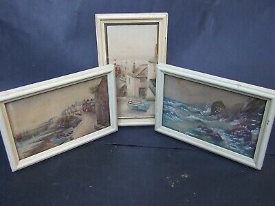 3X Miniature Mid-20th-Century Watercolor Paintings English Scenery Signed Art