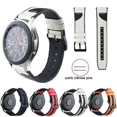 22mm Silicone Leather Strap For Huawei GT 2 Samsung Galaxy Watch 46mm Amazfit 2S