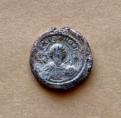 Byzantine lead seal of John military officer, depiction of St. George & Theodore