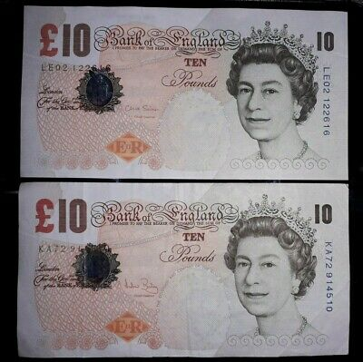 2x Old Style Paper £10 Ten Pound Notes ERII Bank of England, Very Good Condition