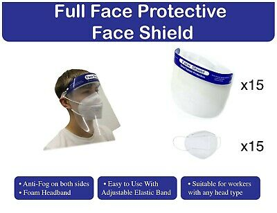 Protective Face Shield With KN95 Face Mask, Bundle Package x15