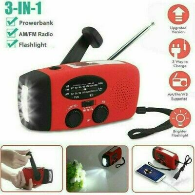New Portable Radio Light Dynamo Wind Up Solar And USB Rechargeable Hand Crank