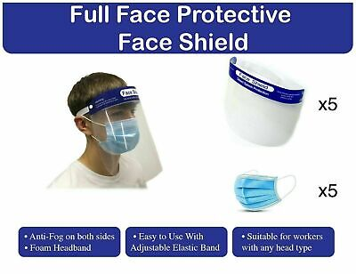 3-Ply Face Mask With Face Shield, One Size Fits All, Disposable Pack of 5