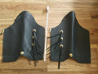 Mens Motorcycle Black Leather Half Chaps Leg Cover Warmer Gaiter Thick Heavy
