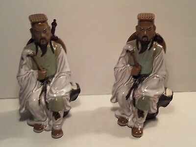 Matching Pair Antique Chinese Mudmen Statue Figures