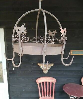 A Fantastic Antique Wrought Iron Game Hanger Kitchen Hanger Hooks
