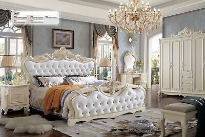 Classic Chesterfield Baroque Rococo Style Beds Hotel Double Leather Bed Antique