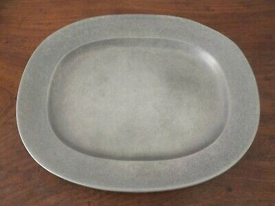 "LARGE Wilton Armetale Plough Tavern Pewter 14"" Oval Serving Platter"
