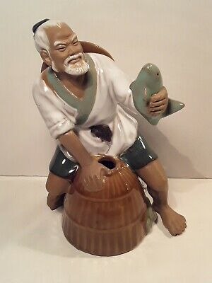 Antique Chinese Mudmen Figure Fisherman