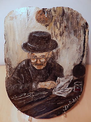 Painting On Slate Or Signed Delichet Antique Reading His/Her Newspaper French