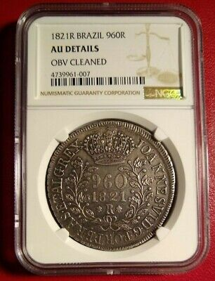 1821 R Brazil 960 reis ngc au details struck over 8 reales Rio mint world crown