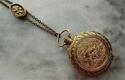 Classic Vintage Solid Perfume Pocket Watch Necklace with Jeweled Slide