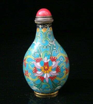 Collectibles 100% Handmade Painting Brass Cloisonne Enamel Snuff Bottles 038