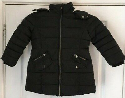 Warm M & S Childs Black Quilted Hooded Coat Age: 3 -4 Years Girl Faux Fur