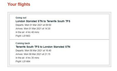 Jet2 return flights to South Tenerife - March 2021, includes seats/baggage/food