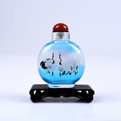 Inner Painting Snuff Bottle Chinese Antique Crane Rise in Morning Christmas Gift