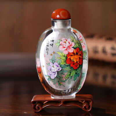 Inner Painting Snuff Bottle Chinese Antique Paeonia Suffruticosa Symbolize Rich
