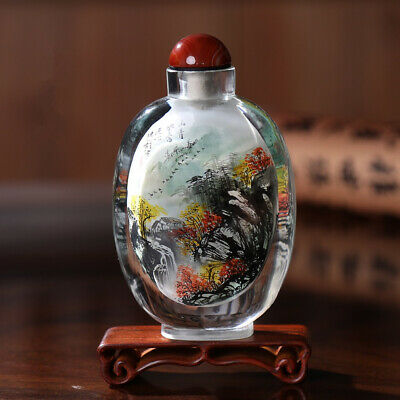 Inner Painting Snuff Bottle Chinese Antique Picturesque Scenery