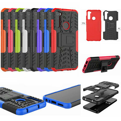 For Xiaomi Redmi Note 8T, 3D 2in1 Dual-Layer Shockproof Rugged Armor Case +glass
