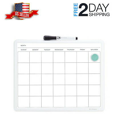 """One Month Wall Calendar Planner Dry Erase Board White Frame Large Home 14x11"""""""