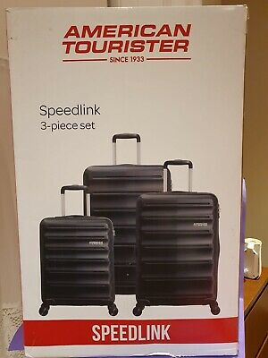 3 Piece American Tourister Bombay Beach Softside Suitcase Set in Onyx Black