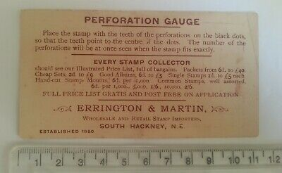 STAMP / PHILATELIC PERFORATION GAUGE Vintage - ERRINGTON & MARTIN, Hackney
