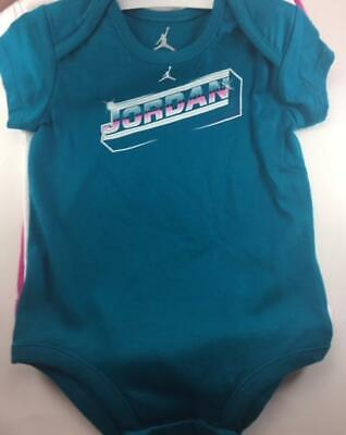 Nwt Nike Air Jordan Girls 3 Piece Set Teal/White/Pink Bodysuits 18 Months $44