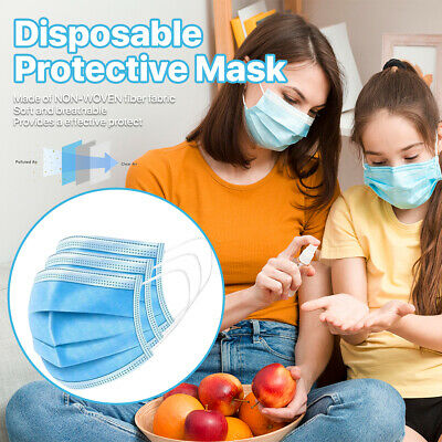 [100 PCS] 3-Ply Disposable Face Mask Non Medical Surgical Earloop Mouth Cover