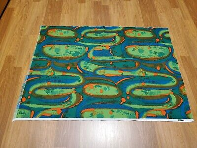 Awesome RARE Vintage Mid Century retro 70s 60s grn org blue abstract fabric! WOW