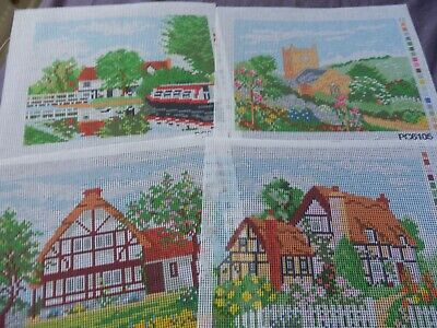 """4 Tapestry Canvas's Country Scenes Cottages, Church  12""""x 10"""" NO THREADS NEW"""
