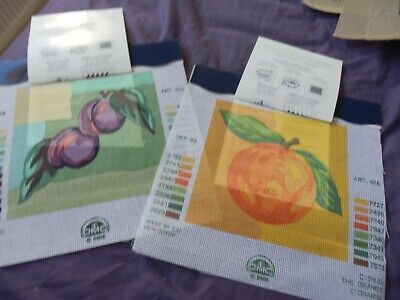 """DMC Set of 2 Tapestry Canvas's   Plums & Orange 12 """" x 12"""" NO THREADS NEW Lovely"""