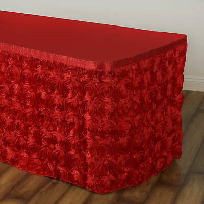 14' Red SATIN ROSES TABLE SKIRT Tradeshow Wedding Party Catering Supplies Dinner
