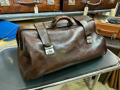 Vintage Leather Motoring Kit Bag Old Car Holdall Bag Keepall Travel Case