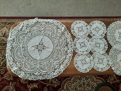 antique European fine point lace table setting for 6 / 13 pc setting