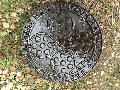 "ORIGINAL  HAYWARD BROS 12"" CAST IRON COAL HOLE COVER PLATE from  a London street"