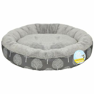 Pet Plush Round Bed Cushion Soft Grey Washable Warm Cosy for Dog Cat Puppy New