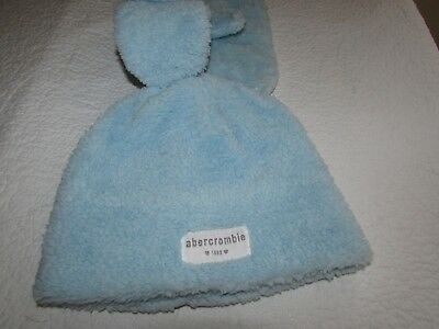 Abercrombie & Fitch Kids Girl S / M  Beanie Hat Cap Gloves Mittens Set Blue BNWT