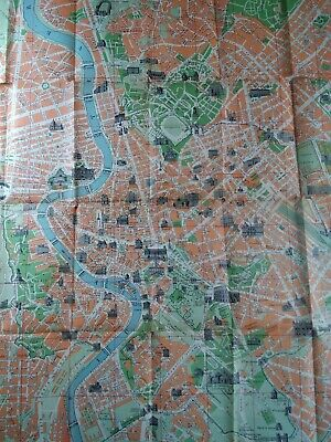 Rome Italy Map 1955 Original Fold Out Large Enrico Verdesi