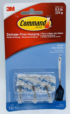 Command Small Sized Wire Decorative Hooks Clear 3 Kitchen Utensil Hooks
