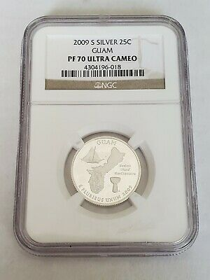 2009 S Silver Proof Guam - D.C. & Territories Quarter, graded PF 70 UC by NGC